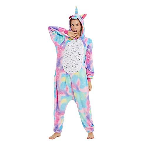 Mystery&Melody Süßes Einhorn Overalls Jumpsuits Pyjama Fleece Nachtwäsche Schlaflosigkeit Halloween Weihnachten Karneval Party Cosplay Kostüme für Unisex Kinder und Erwachsene (S, Stern Einhorn)