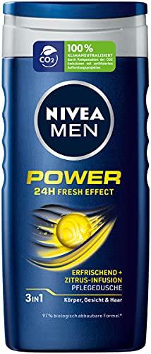 Nivea Men Gel de ducha Power Fresh (250 ml), gel de ducha para un poderoso comienzo del día, ducha con mentol y aroma de menta acuática.