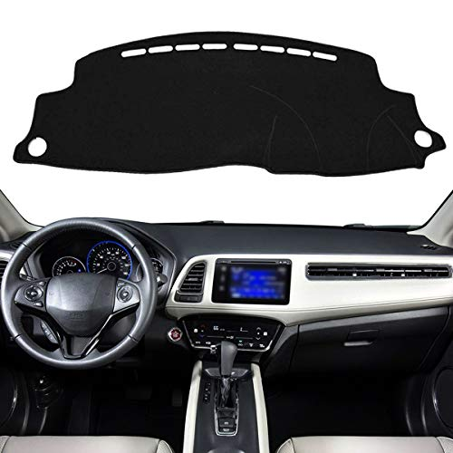 Autoxrun New Custom Dashboard Black Center Console Cover Dash Mat Sun Protector Cover Compatible with 2016-2019 Honda HRV