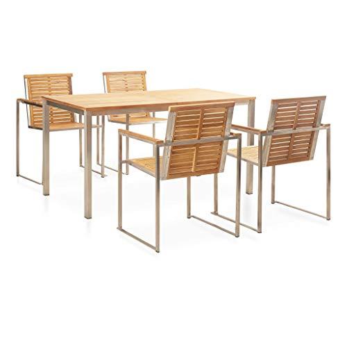 vidaXL - Muebles de jardín de teca maciza, 5 piezas Juego de mesa y sillas de jardín de acero inoxidable