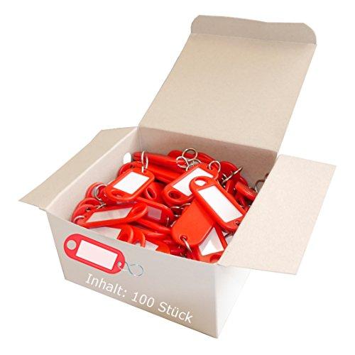 Wedo 262803402 Schlüsselanhänger Kunststoff (mit S-Haken, auswechselbare Etiketten) 100 Stück, rot