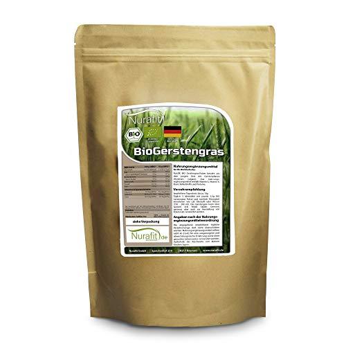 BIO Gerstengras-Pulver Nurafit, Deutscher Anbau, Green-Smoothie Pulver glutenfrei, Vegan Superfood ohne Zusatzstoffe, Natürlicher Gerstengrasssaft Drink, 500g / 0,5kg