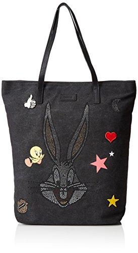 Codello Damen Shopper mit Bugs Bunny Motiv, Schwarz (black), 31x46x12 cm