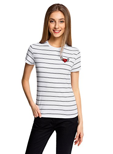 oodji Ultra Mujer Camiseta a Rayas con Bordado, Blanco, ES 42 / L