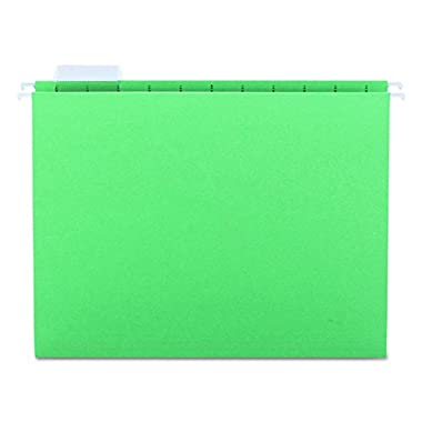 Smead Hanging File Folder, 1/5-Cut Adjustable Tab, Letter Size, Green, 25 per Box (64061)