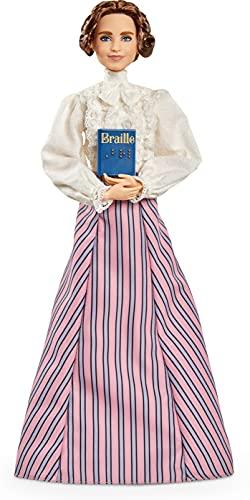 Barbie Inspiring Women Helen Keller Doll (12 pulgadas) con blusa y falda, con soporte para muñeca y certificado de autenticidad, regalo para niños y coleccionistas