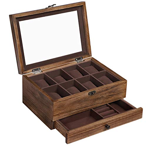 SONGMICS Solid Wood Watch Box, 8-Slot Watch Case with Pillows, Glass Lid, Rustic Walnut UJOW008K01