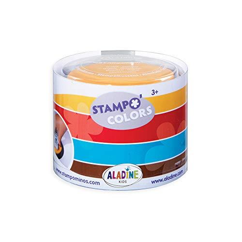 HCM Kinzel Aladine 85151 - Stampo Colors Harlekin, 4 Stempelkissen, türkis/braun/rot/gelb