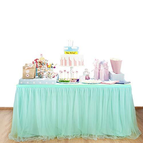 Fashionbeautybuy - Gonna da tavolo in tulle, tovaglia per feste di matrimonio, 1,8 m, 2,7 m, 4,3 m, Light Green, 9ft