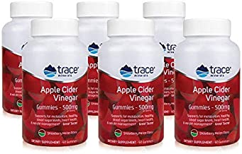 Apple Cider Vinegar Gummies with Mother (60 Count 6 Pack)   Raw, Unfiltered, Organic 500mg ACV Gummy Supplements   Supports Weight Loss, Slimming Flat Tummy, Detox, & Immunity (Strawberry Melon)