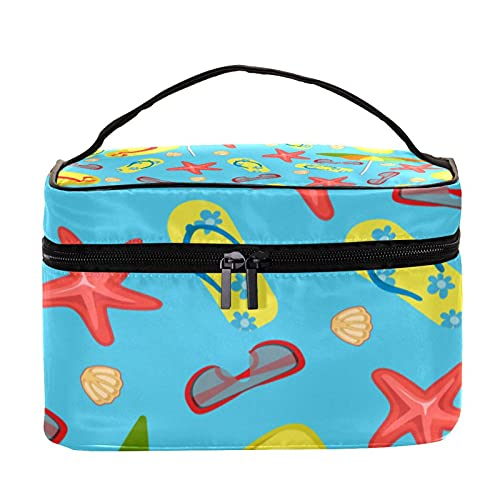 Pantuflas de verano para paraguas, gafas, sombreros y estrellas de mar, bolsa de maquillaje grande, bolsa de maquillaje, organizador con cremallera, para mujeres y niñas