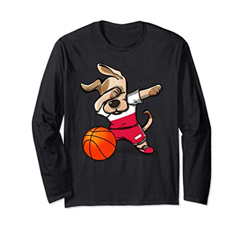 Funny Dabbing Dog Basketball かわいい犬ポーランドバスケットボールポーランド国旗スポーツ 長袖Tシャツ