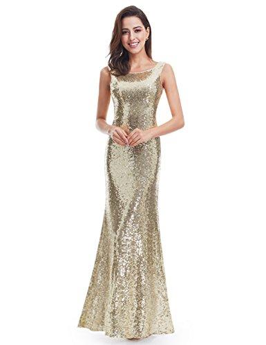 Ever-Pretty Lang Pailletten Elegant Partykleid Cocktailkleid Abendkleid 48 Gold