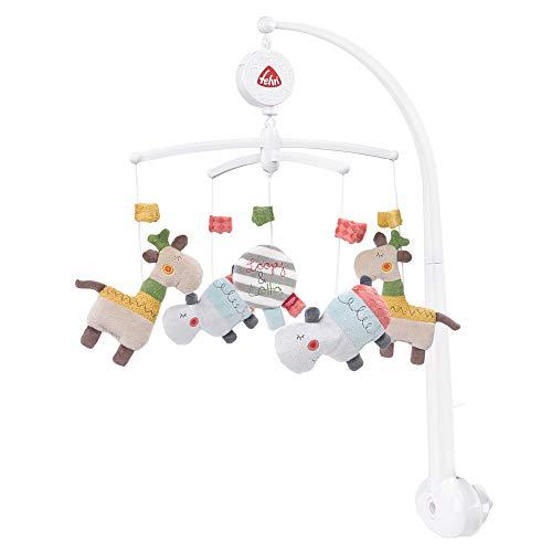 Fehn 059021 Musik-Mobile Loopy & Lotta – Mobile mit sanfter Melodie und flauschigen Figuren – Mit Befestigung – Für Babys von 0-5 Monaten – Größe: Ø 40 cm, Höhe: 65 cm