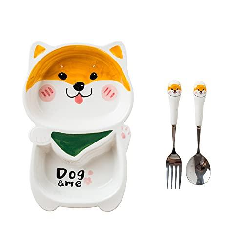 Plato de vajilla de cerámica plato de cena para niños del hogar cuenco de arroz desayuno para bebés plato de cena a la parrilla Shiba Inu + cuchara tenedor