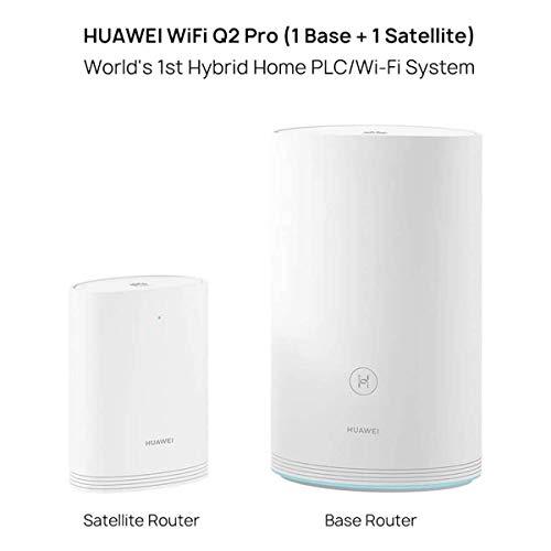 HUAWEI Wi-Fi Q2 Pro (1 Basis + 1 Satellit), Powerline WLAN Mesh Set (1200Mbits+1000Mbits, inkl. Plug&Play, Kindersicherung, Reichweite bis zu 300m², 4xGigabit) weiß