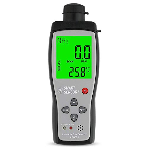 WCY Ammoniak-Gasmonitor Handportable NH3 Sensor Testbereich 0-100 ppm Ammoniak-Gas-Detektor-Analysatoren mit LCD-Hintergrundbeleuchtung Ton Licht Alarm yqaae
