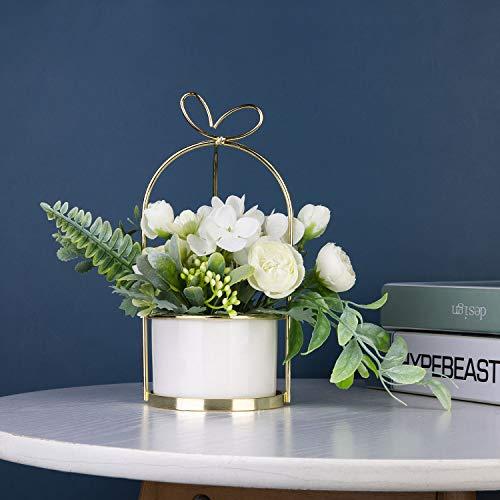Czemo Flores Artificiales Decoración Jarrones Maceta Plásticas Flor pequeñas en Maceta para Decoración del Hogar o la Oficina Decorativa en Maceta Oficina en Casa (Blanco)
