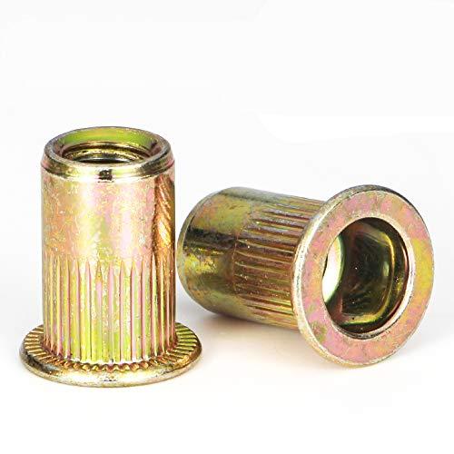 Rivet Nut, LOKMAN 100 Pieces 1/4-20UNC Carbon Steel Flat Head Rivnut Threaded Insert Nut,Knurled Body (1/4''-20)