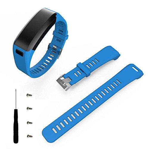 SHOBDW Garmin Vivosmart HR Armband, Mode Sport Silikon Band Strap Armband + Werkzeug für Garmin Vivosmart HR (Blau, 170-220mm)