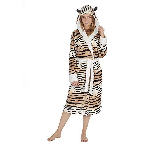 Damen-Morgenmantel mit Kapuze, weiches Fleece, zweifarbig Gr. Medium, tiger