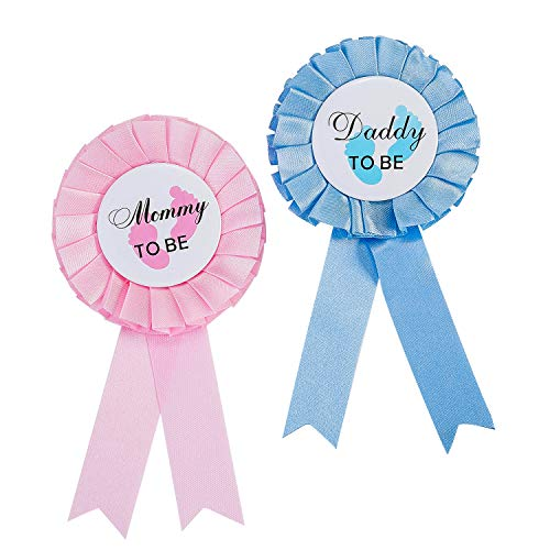 Daddy and Mommy to Be Badge Decoración con Lazo para Regalo de papá Nuevo, mamá, hojalata Roseta Insignia Pin botón género Aguja para Nacimiento niña niño Baby Shower decoración de Fiesta (Rosa Azul)