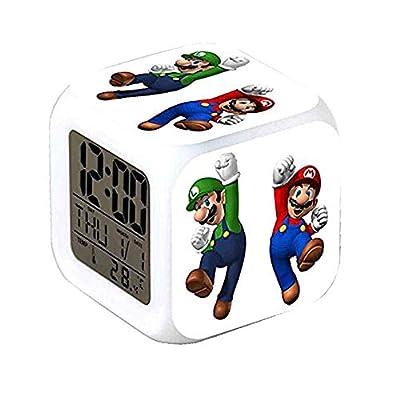 R-timer Super Mario Bros 7 Colors Change Digital Alarm Clock with Time, Temperature, Alarm, Date