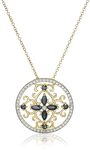 18K Yellow Gold-Plated .925 Sterling Silver Diamond-Accented Gemstone Floral Filigree Cross Round 1