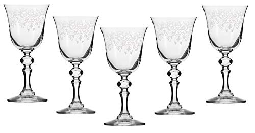 Krosno - Juego de 6 copas de vino Krista Collection ideales para el hogar, restaurante, eventos y fiestas