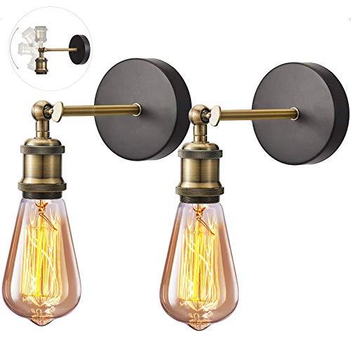 2 Pezzi Retro Testa in rame Lampade da Parete Regolabile Industriale E27 Vintage Parete Lampada Portalampada per Cucina Sala da Pranzo Bar Decorazione Illuminazione