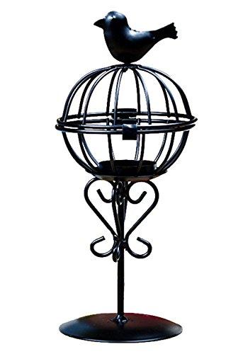 Oyfel Kerzenhalter für den Außenbereich, Solarlaterne, kreativ, Vogelkäfig, schwarz, weiß, Metall, antik, Vintage, für Hochzeit, Haus, Garten, Dekoration, 1 Stück