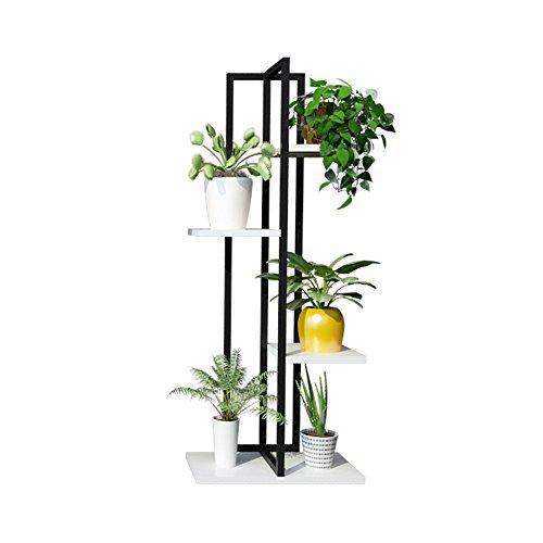 Étagère à fleurs multicouche Supports de fleur de fer de 4 rangées/support de plante pour le balcon de salon et le présentoir de Bonsai debout en métal d'intérieur/extérieur noir - 40 × W40 × H100