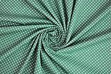 Tessuto al metro: Cotone verde pino a pois bianchi
