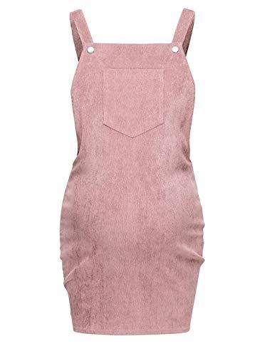 inhzoy Damen Latzkleid Umstandmode Schwangerschaftskleid Cord Straps Trägerkleid Kurze Weste Kleid Rock Mini Lätzchen mit Brusttasche Einfarbig Slim fit Rosa M