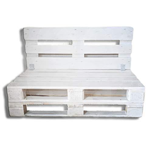 Divano in Pallet levigato, piallato, Colore Bianco - seduta cm 120 x 60 x h 29 - schienale cm 120 x 46,5 - schienale ribaltabile Arredo giardino country- shabby chic