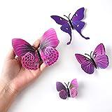 TUPARKA 36 Stück 3D Schmetterlinge Deko Schmetterling Wanddeko Butterfly Wandsticker 3D Wandtatoo Schmetterlinge Balkon Deko (Pink-Lila) - 4