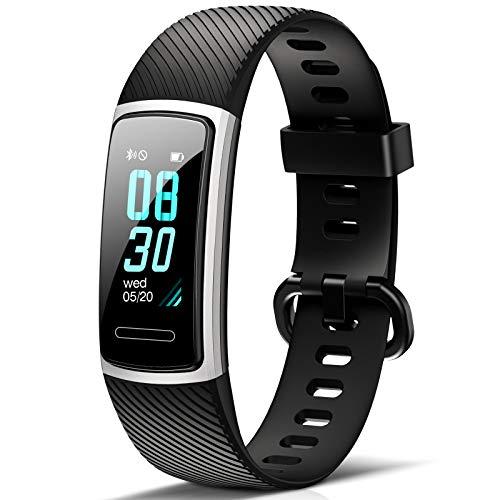 FITFORT Fitness Armband mit Pulsmesser IP68 Wasserdicht Fitness Smartwatch, schrittzähler, Schlafüberwachung,Sitzende Erinnerung Aktivitätstracker,Damen Herren Anruf SMS SNS Beachten, Schwarz