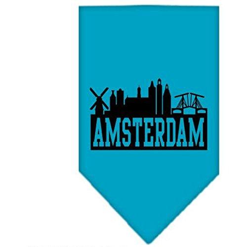 Mirage Amsterdam Skyline zeefdruk Bandana, Small, Turkoois