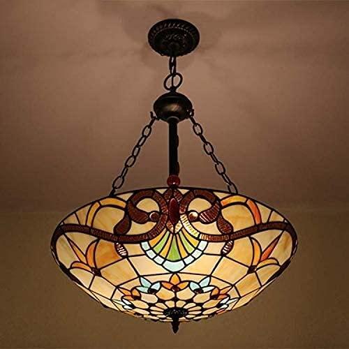 20 pulgadas de la lámpara de techo de estilo tiffany, accesorio de luz colgante de vidrio, araña para comedor hotelero lobby sala de estar dormitorio bar cafe, E27 x 3