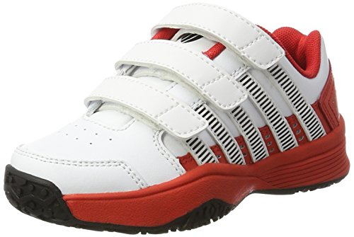 K-Swiss Performance Jungen Unisex-Kinder Court Impact LTR Omni Strap Tennisschuhe, Weiß (White/Fiery Red/Black 165), 29 EU