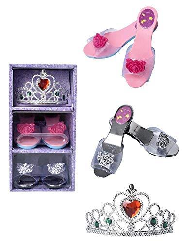 LIUCHANG Juego de zapatos con corona y tacones altos para niñas, de 3 a 10 años de edad, liuchang20