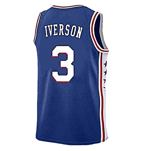 Mens Iverson Jersey Philadelphia 3 Basketball Jersey Allen Adult Sports Jerseys Blue(S-XXL) (M)