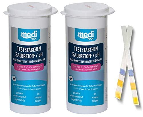 Medipool 2 Dosen 502010804MP Teststreifen für Sauerstoff - pH Wert - Algenschutz 100 Teststäbchen