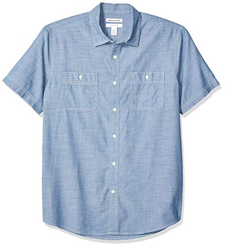 Amazon Essentials - Camisa de cambray de manga corta para hombre, Azul medio, US L (EU L)