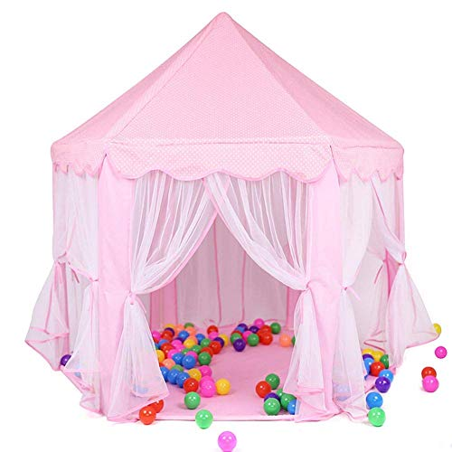 WOHAO Gewächshaus Zelt Princess Castle Kinder-Spiel-Zelt Mädchen Spielzeug-Spiel-Zelt for Kinder Spielhaus mit Stern-Lichtern Geschenk for Kinder Indoor & Outdoor Games (Color : Pink)