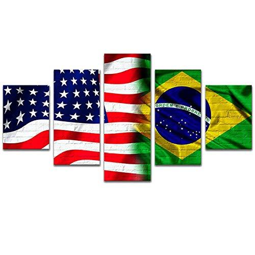 DMLGQ patroon van de Amerikaanse Braziliaanse vlag, schilderij op canvas, interieur, computerdruk, muurschildering, sofa-achterwand, hangend beeld van de slaapkamer 200 * 100cm Ingelijst
