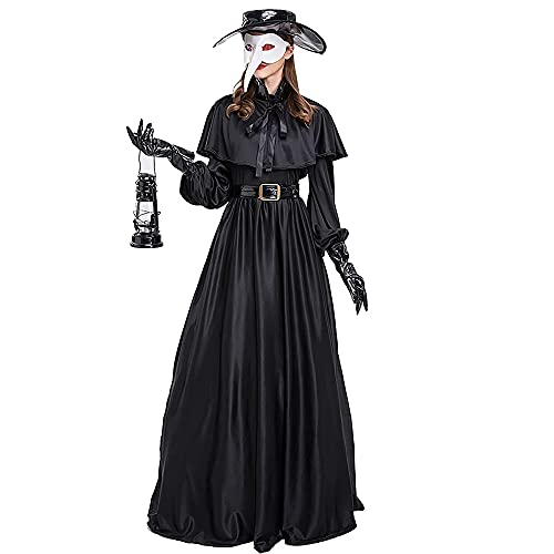 ZZZQCYP Conjunto de Disfraz de mdico de la Peste para Mujer - 5 en 1 mscara de pjaro de mdico de la Peste/Sombrero/cinturn/Guantes/Vestido de Plague Dr, Capa de Disfraz de Halloween para cospla