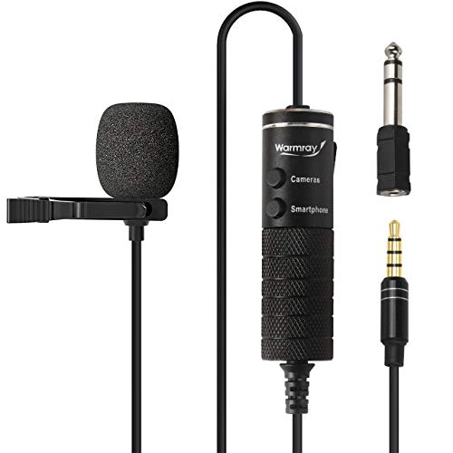 Lavalier Microphone Lapel Microphone Recording Microphone for Phone iPhone Ipad Android Smartphone DSLR, 20.5ft Wired Audio Video Recording Mic with Clip-on for Zoom, Tiktok, YouTube,Studio.