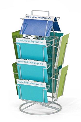 Fluhr Thekendrehständer für Postkarten 107x152 mm im Hoch- und Querformat , Silber