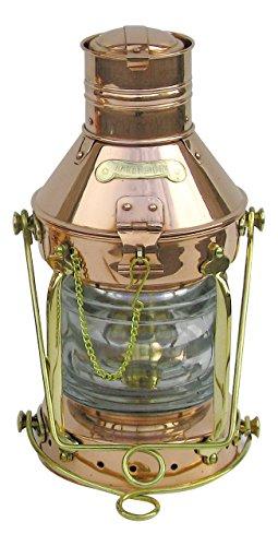 Petroleumlampe Ankerlampe Kupfer/ Messing, Petroleumbrenner, H: 32cm